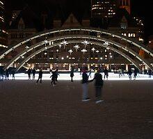 Night Skating At Nathan Phillips Square by Gary Chapple