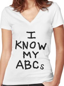 I Know My ABCs Women's Fitted V-Neck T-Shirt