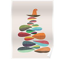 Bird nesting on top of pebbles hill Poster