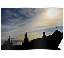 Red Square Silhouette, Moscow Poster