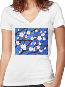 Apple Blossoms Women's Fitted V-Neck T-Shirt