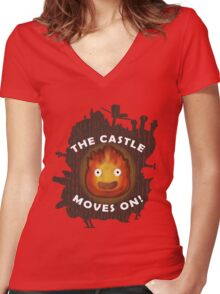 The Castle moves on! Women's Fitted V-Neck T-Shirt