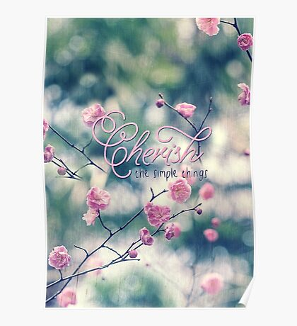 Cherish the Simple Things Pink Plum Blossoms Poster