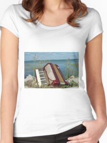 Red Accordion Women's Fitted Scoop T-Shirt