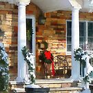 Christmas Sled on Porch by Susan Savad