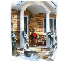 Christmas Sled on Porch Poster