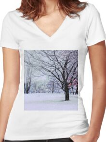 Winter Trees Women's Fitted V-Neck T-Shirt
