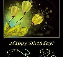 Happy Birthday card with gold flowers by Nika Lerman