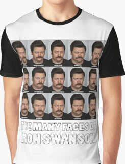 The Many Faces of Ron Swanson Graphic T-Shirt