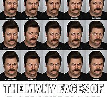 The Many Faces of Ron Swanson by Mrmasterinferno