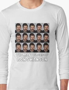 The Many Faces of Ron Swanson Long Sleeve T-Shirt