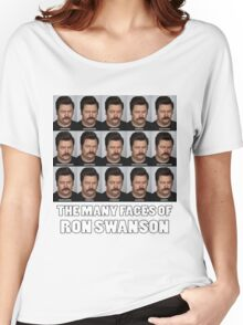 The Many Faces of Ron Swanson Women's Relaxed Fit T-Shirt
