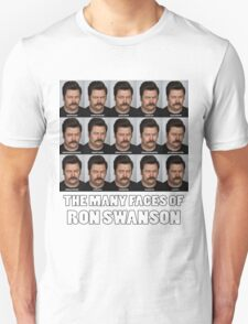The Many Faces of Ron Swanson T-Shirt
