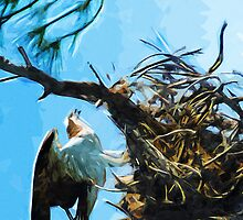 Osprey On Nest Abstract Impressionism by pjwuebker