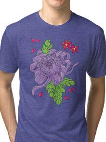 Purple Peony Tattoo Flower Sticker Tri-blend T-Shirt