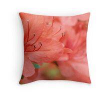 Salmon Pink Azalea Flowers Throw Pillow