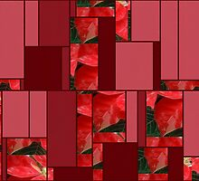 Mottled Red Poinsettia 1 Ephemeral Art Rectangles 8 by Christopher Johnson