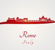 Rome skyline in red by Pablo Romero