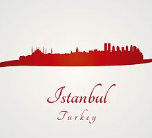 Istanbul skyline in red by Pablo Romero