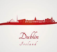 Dublin skyline in red by Pablo Romero