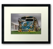 The 'BENCH Jeans' Vw Split Screen custom Van - Head on Framed Print