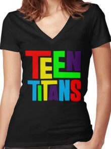 Teen Titans Multicolor Women's Fitted V-Neck T-Shirt