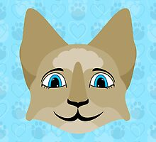 Anime Cat Face With Blue Eyes by mydeas