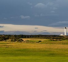 Golfers view of Covesea Lighthouse. by JASPERIMAGE