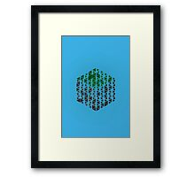 Minimalistic Minecraft Grass Block - Blue Background Framed Print