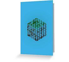 Minimalistic Minecraft Grass Block - Blue Background Greeting Card