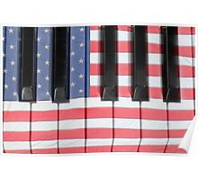 Patriotic Piano keyboard Octave Poster