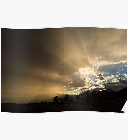 Light Rays Over Teton Mountains Poster