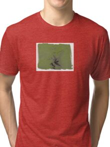 Green shapes with white boarders. Tri-blend T-Shirt