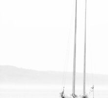 Brothers Without Wind - A Black & White Minimalist Sailboat Piece by Jack Daniel Ciallella