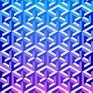 Penrose Cube Stack - Blue Purple by VanHogTrio