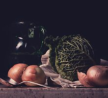 Cabbage Still Life #3 by Rachel Slepekis