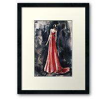 red dress fashion illustration:) Framed Print