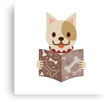 Cute dog with a catalog of bone Canvas Print