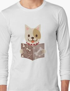 Cute dog with a catalog of bone Long Sleeve T-Shirt