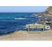 Empty bench at Forster, New South Wales Photographic Print
