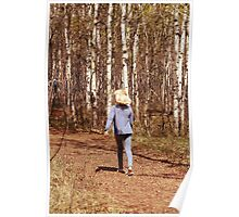 Young Girl Walking Down a Forest Path Poster