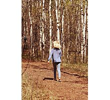 Young Girl Walking Down a Forest Path Photographic Print