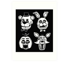Five Nights at Freddy's Black and White Graphics (FNAF Originals)  Art Print