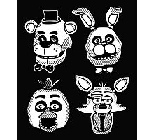 Five Nights at Freddy's Black and White Graphics (FNAF Originals)  Photographic Print