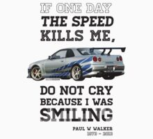 Paul Walker Tribute GTR - Halftone Kids Tee