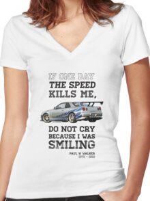 Paul Walker Tribute GTR - Halftone Women's Fitted V-Neck T-Shirt