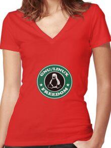 GNU/Linux Women's Fitted V-Neck T-Shirt