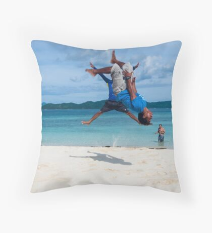 Beach Acrobatics Throw Pillow