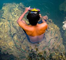 Swimmer With Needle Fish by Paul Weston