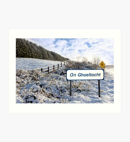 an ghaeltacht sign in irish snow scene Art Print